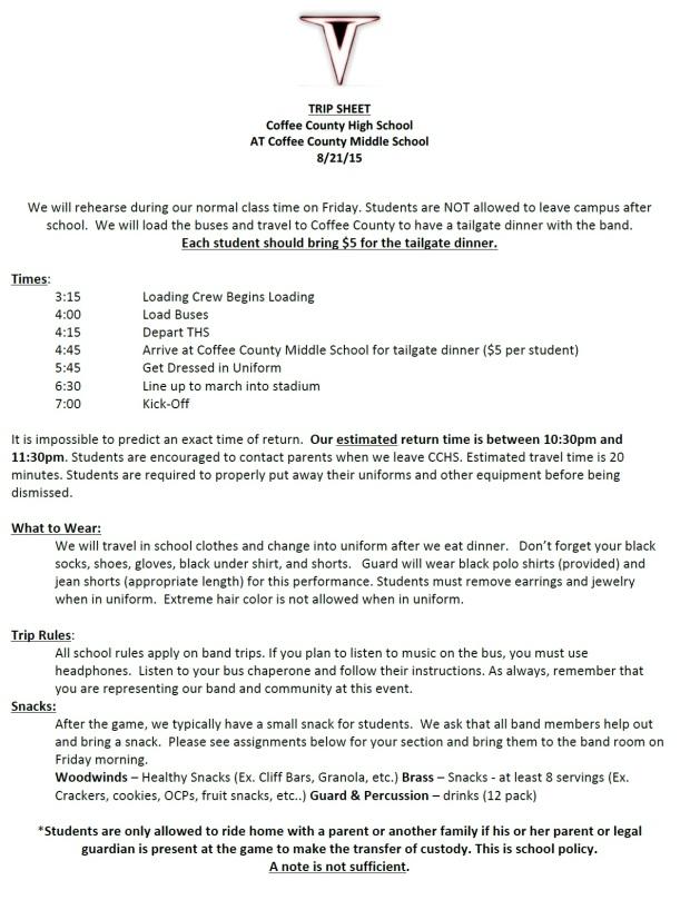 Trip Sheet - CCHS!