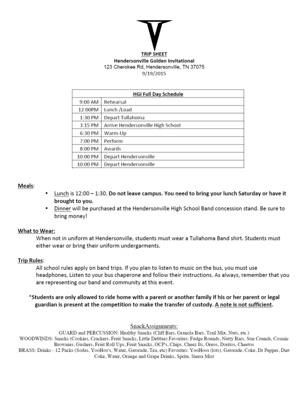 Trip Sheet - Hendersonville Competition 2015