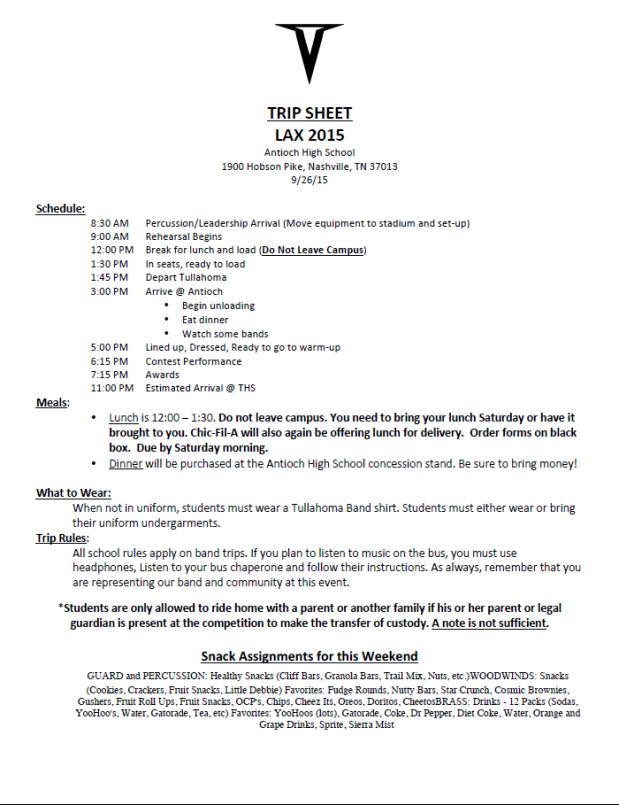 Trip Sheet - LAX 4 - 2015