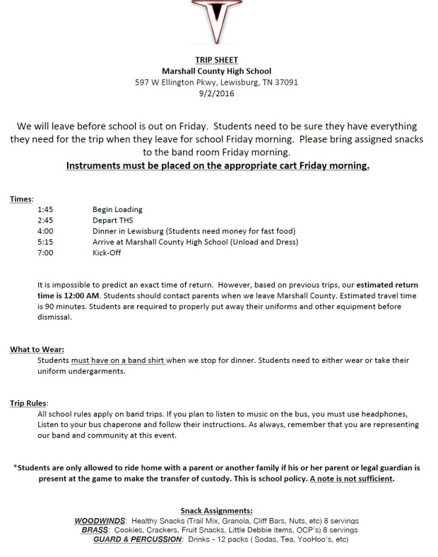 Trip Sheet - Marshall County 2016